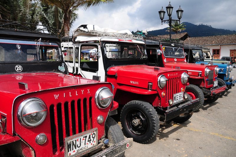 Willys jeep line up in Salento, Colombia