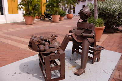 One of several pieces of sculpture in the Plaza Santa Theresa depicting life in the old city.