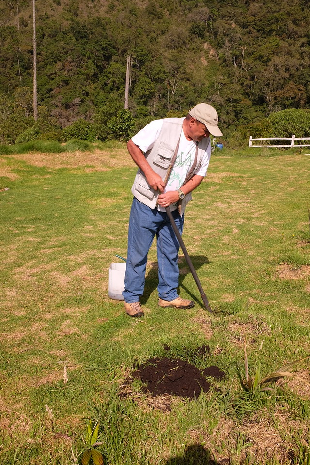 The farmer/conservator prepares the earth for the planting.