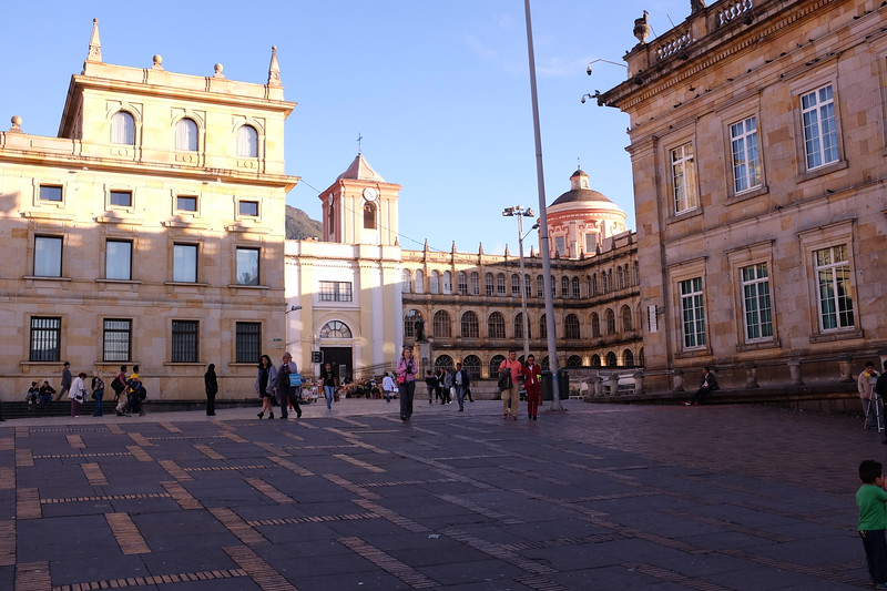 This is the Plaza de Bolivar, in central Bogotá.