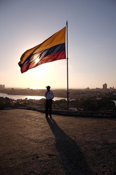 A guard patrols this high point inside the Castillo de San Felipe de Barajas.