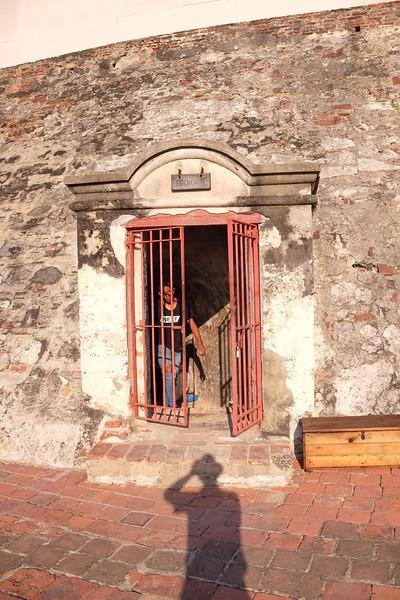 One of many entrances to the Castillo de San Felipe de Barajas's tunnel network.