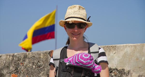 Margaret and Scarlett Walking the Walls of Castillo de San Felipe De Barajas - Cartagena, Colombia (January 2013)