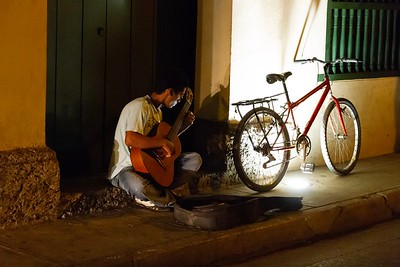 Busking by Night in the Cartagena Old Town