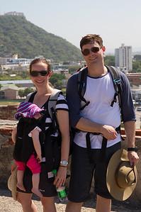 Margaret and Steve at Castillo de San Felipe De Barajas with La Popa in the Background - Cartagena, Colombia (January 2013)