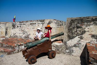 Annalise and Adrian Exploring the Walls of Castillo de San Felipe De Barajas - Caratega, Colombia (January 2013)