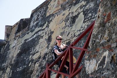 Margaret and Scarlett Scaling the Walls of Castillo de San Felipe De Barajas - Cartagena, Colombia (January 2013)