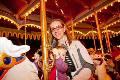 Margaret and Scarlett Riding the Fantasyland Carousel - Disneyland January 2013 (11 Months)