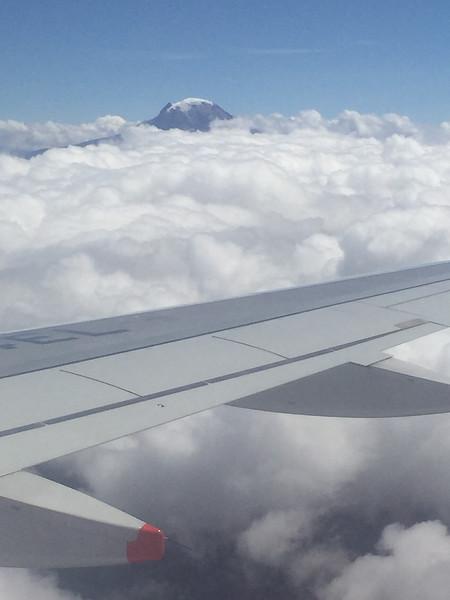 Nevado del Tolima stratovolcano during our flight to Armenia