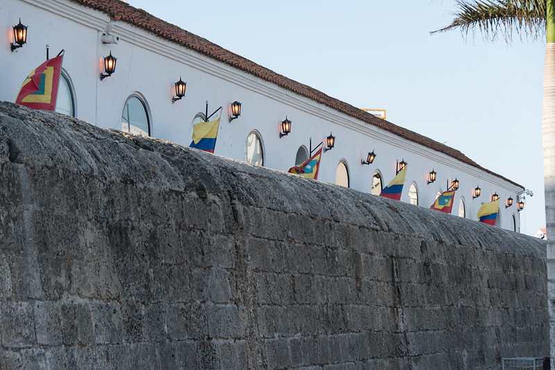 Fortified wall with building behind, Cartagena