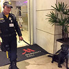 Bomb sniffing dog at entrance to Cali Marriott