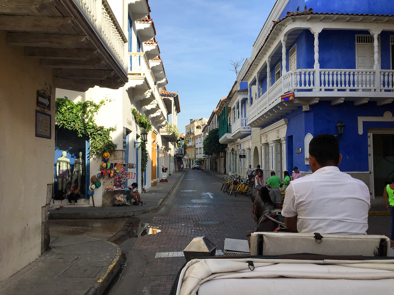 Riding a carriage through the streets of Cartagena