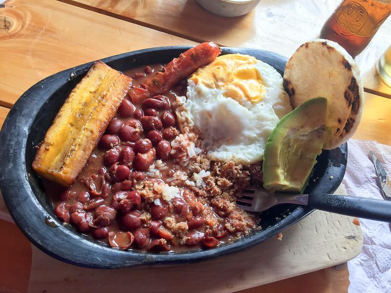 Bandeja Paisa, a famous Colombian dish