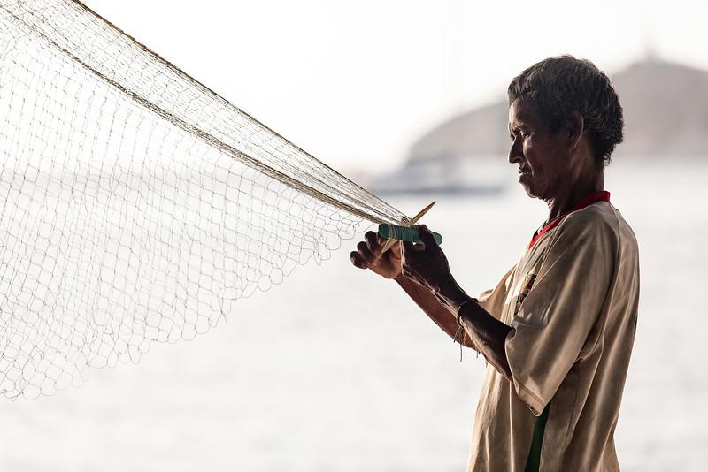 fisher in the harbor of Santa Marta / Colombia