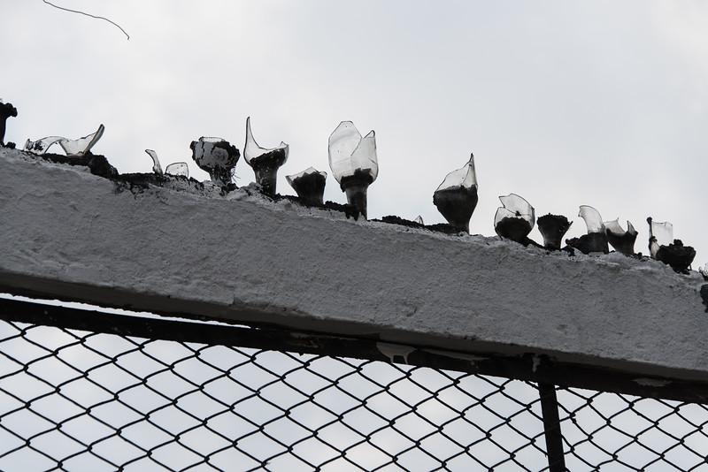 Broken bottles on top of a fence in Cali