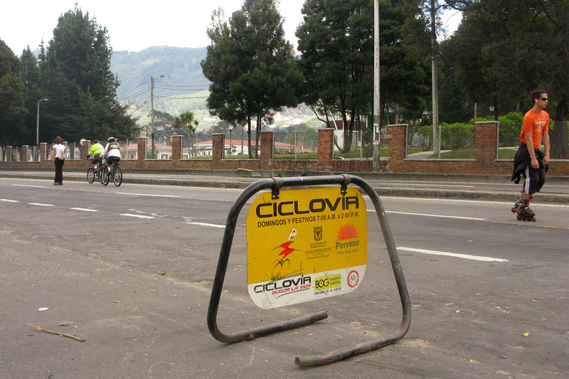 We swung by the Ciclovia route to check it out. Every Sunday, the city closes an extra 75 miles of roadway to accommodate bikers, joggers, rollerbladers, and dog-walkers from 7am to 2pm. I've heard that generally a million of the city's 8 million tend to participate.