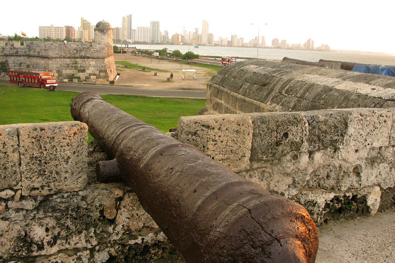Up on the walls that encircle the old town, looking toward Bocagrande, Cartagena's modern Miami-esque peninsula.