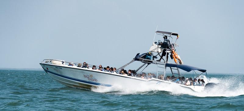 Speedboat returning to Cartagena from Hotel Isla del Encanto