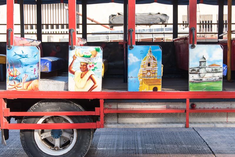 Colorful Cartagena tour bus