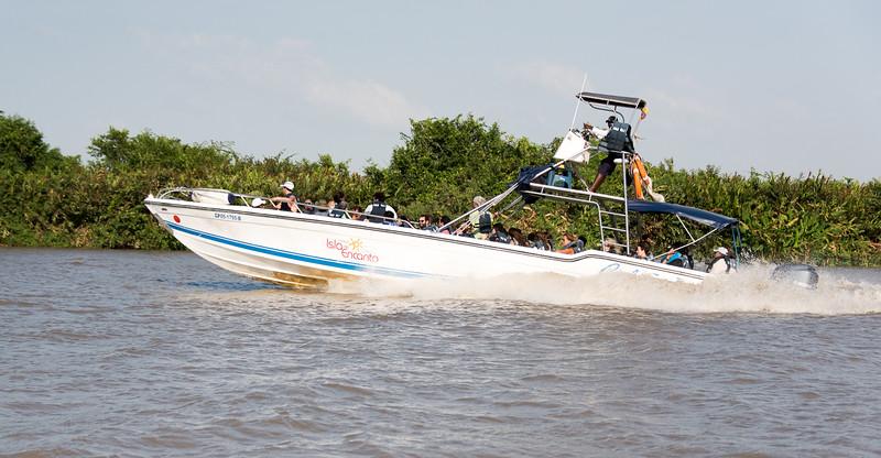 Speedboat returning to Cartagena from Hotel Isla del Encanto via the Rio Negro