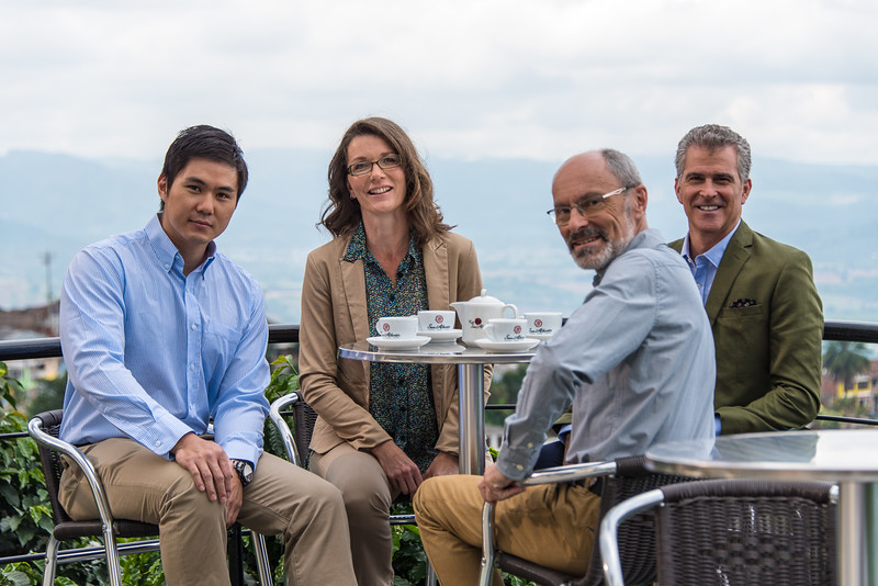 Actors in a promotional video for Colombian tourism, San Alberto coffee plantation