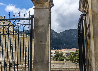 The view from one of the gates at the official residence.