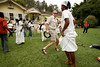 """Tousist dance samba during a presentation of African culture at the Fazenda Santo Antonio, near Rio das Flores, about 160km (100 miles) from Rio de Janeiro, August 12, 2005. The Fazenda is of many former coffee plantations of the region of western Rio de Janeiro state which has been turned into a bed and breakfast. Capitalizing on the beautiful landscapes and historical architecture, entrepreneurs have been buying up the decaying plantations, most of which flourished in the latter half of the 19th century, and turning them into a tourist attractions. The plantations, which no longer produce significant amounts of coffee, now form what is called the """"Coffee Circuit,"""" which promotes historical, social and culinary tours of the area. Coffee dominated Brazilian exports in the last half of the nineteenth century and as coffee exports rose steadily, so did the numbers of imported slaves to work the plantations, a fact which has left a cultural imprint on Brazilian society today. In 1822 about 30 percent, or 1 million, of Brazil's population were African-born or descended slaves. In 1888, Brazil was one of the last countries in the world to abolish slavery. Today, about 44 percent of the population can claim African ancestors.(Australfoto/Douglas Engle)"""