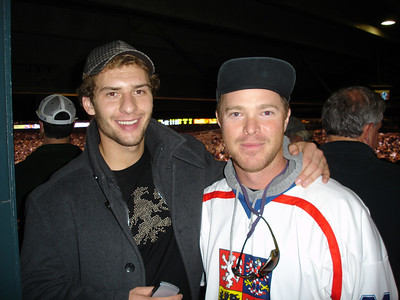 Brendan with Colorado Avs player Wojtek Wolski.