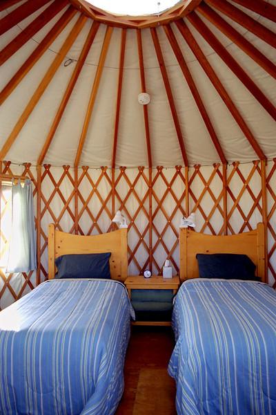 Yurt interior, Joyful Journey Spa, Colorado.