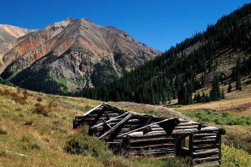 Ruined log cabin. Alpine Loop Jeep Trail, Colorado.