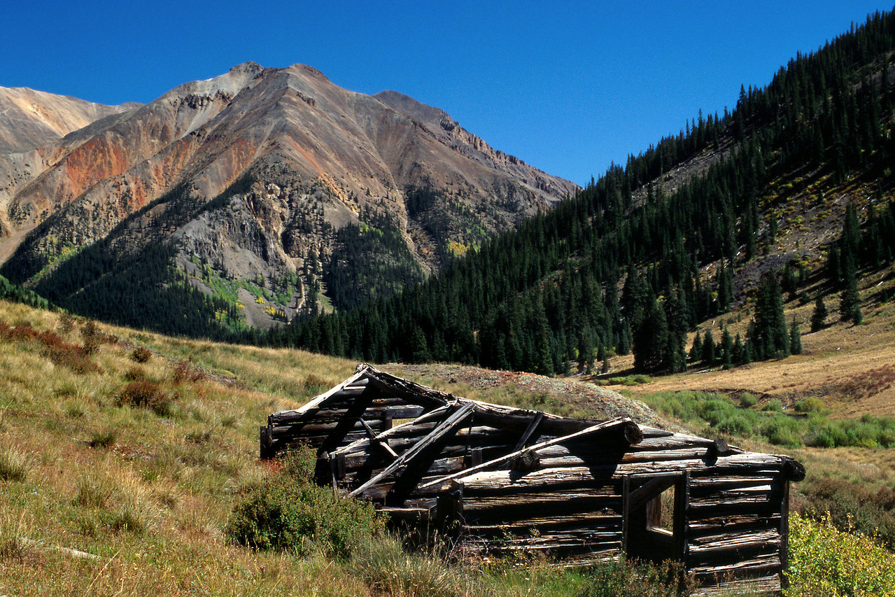 Ruined log cabin. Alpine Loop Jeep Trail, Colorado.