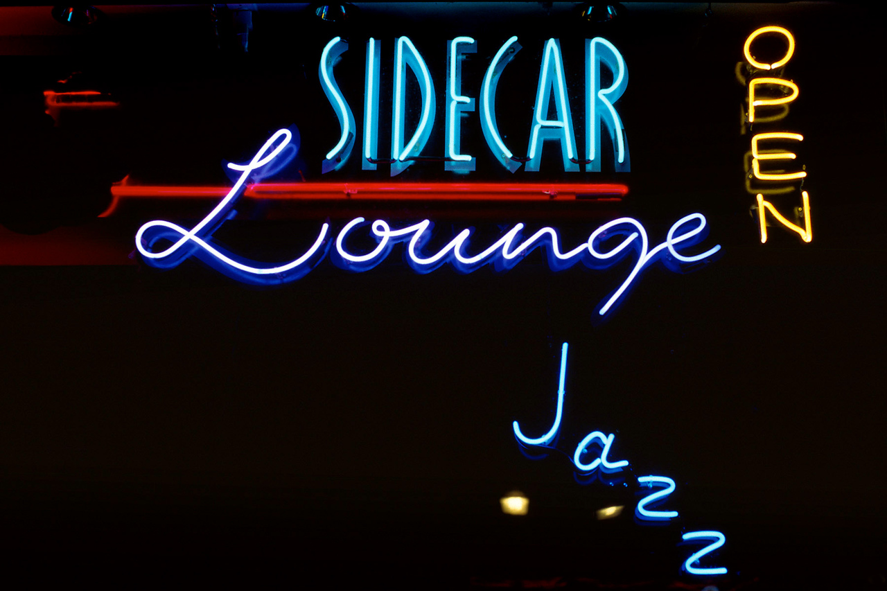Sidecar Lounge. Neon sign, Durango Colorado.