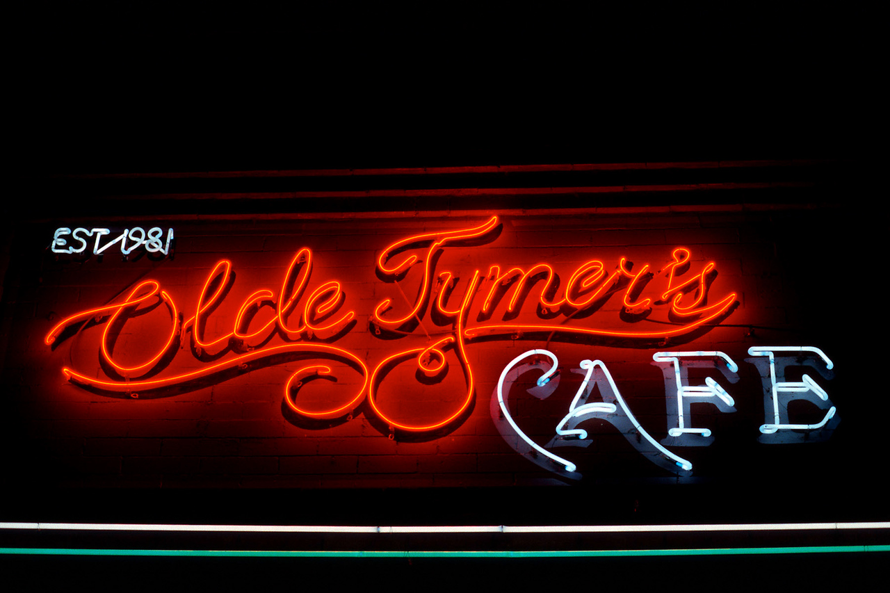Olde Tymer's Cafe. Neon sign, Durango Colorado.