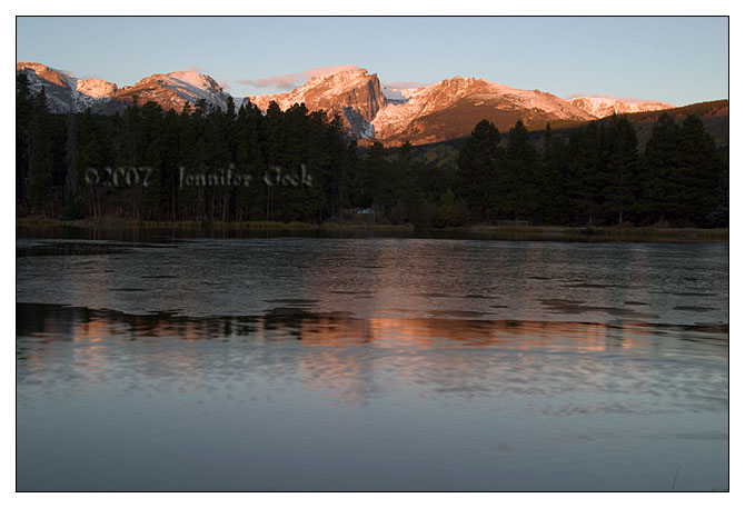 Morning sunrise and reflections at  Sprague Lake