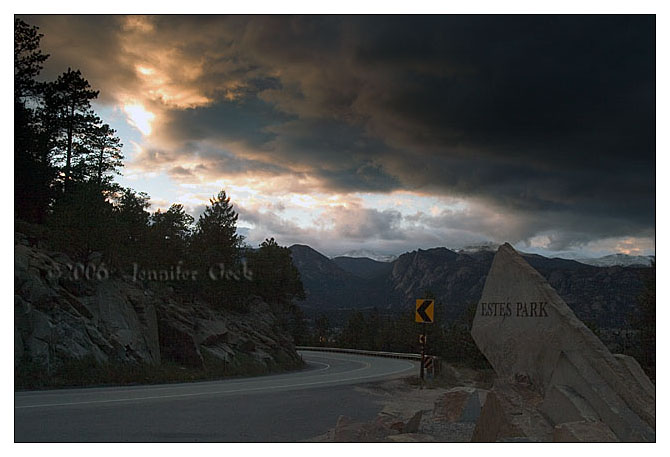 Arriving to Estes Park, CO at sunset