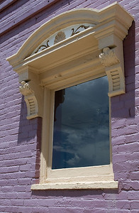 Sky reflecting in window. Leadville, Colorado