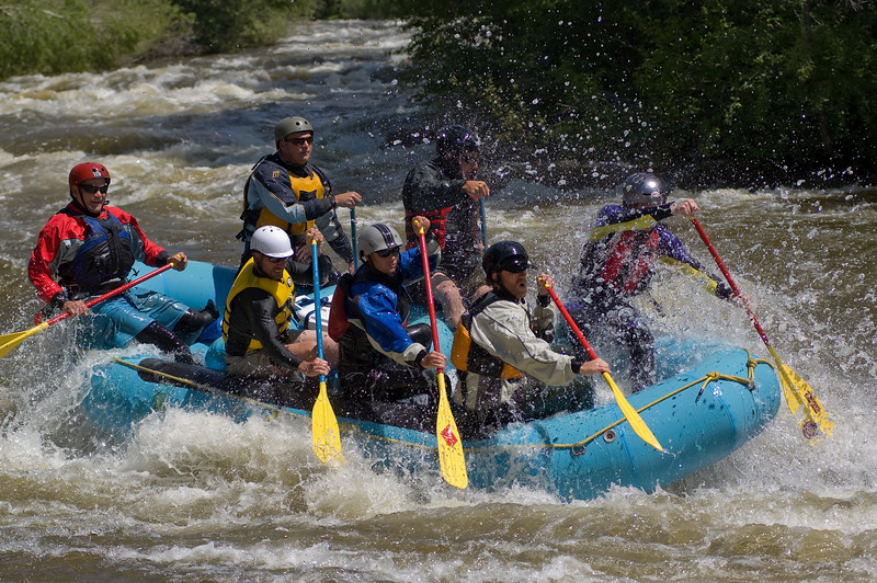 Rafting through the Avon Whitewater Park. Eagle River, Colorado