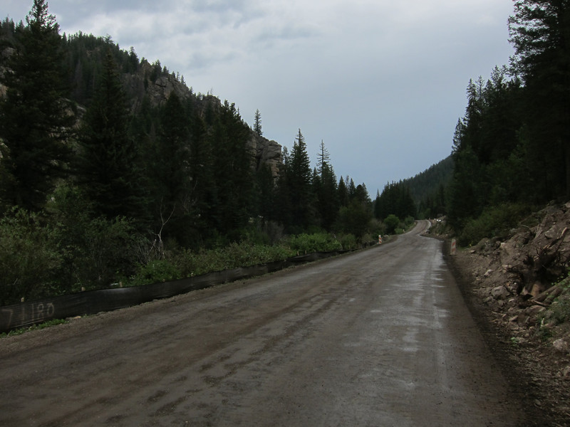 We continued on County Road 742, which was supposed to be paved but was torn up for quite a few miles. Intermittent drizzle didn't help.