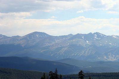 View of Breckenridge Colorado from Keystone. Hazy due to wild fires.