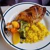 Roasted Game Hen dinner in diner