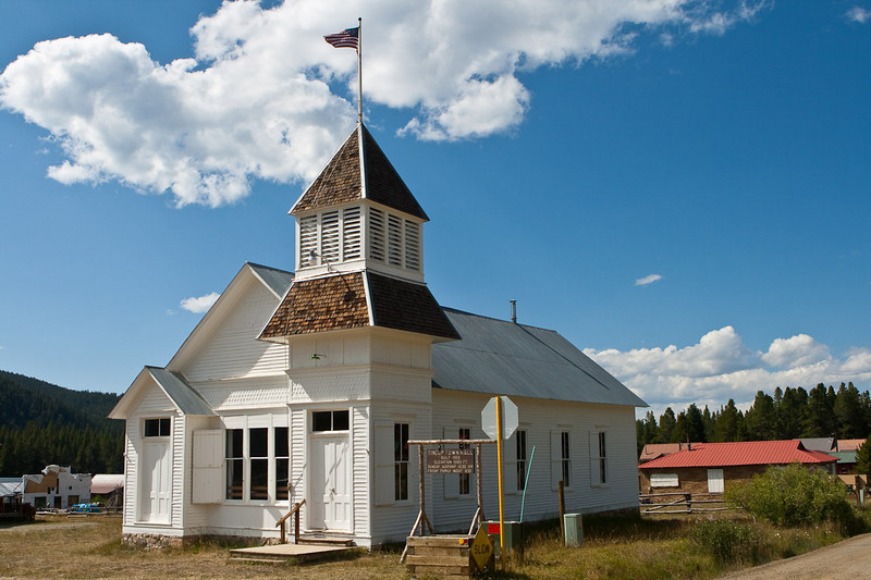 Tincup town hall, built 1903, elevation 10,160 ft.