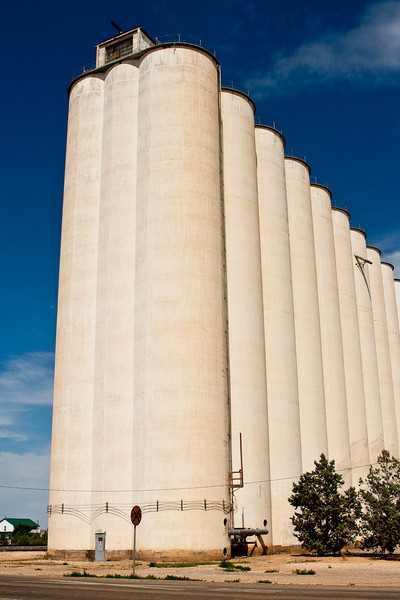 A grain silo in Farwell, Texas, next to the rail road tracks. New Mexico state line.