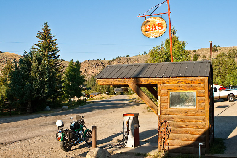 The world's smallest no service gas station. The Taylor River road at Almont, between Gunnison and Crested Butte,