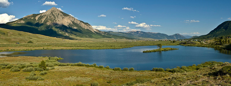 Panorama of Penut Lake, Mt Crested Butte and CB