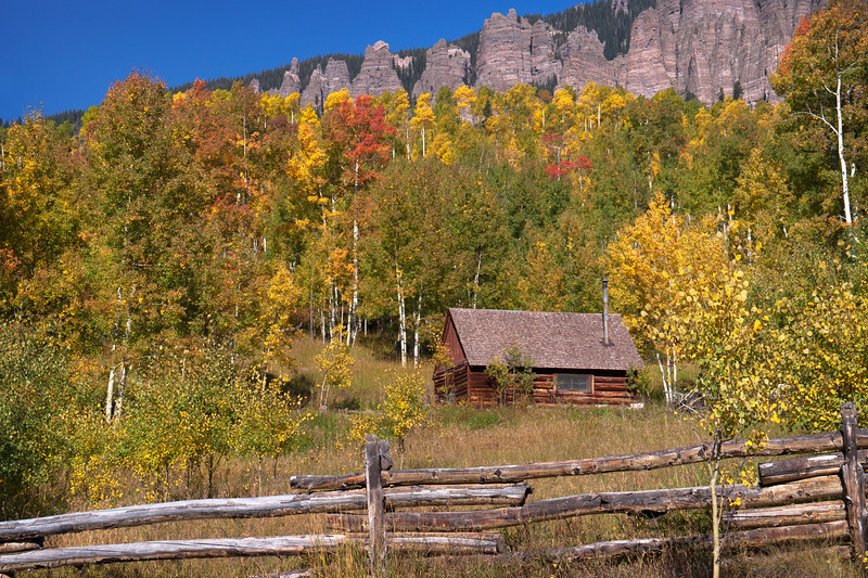 Little cabin in the mountains Colorado in Fall