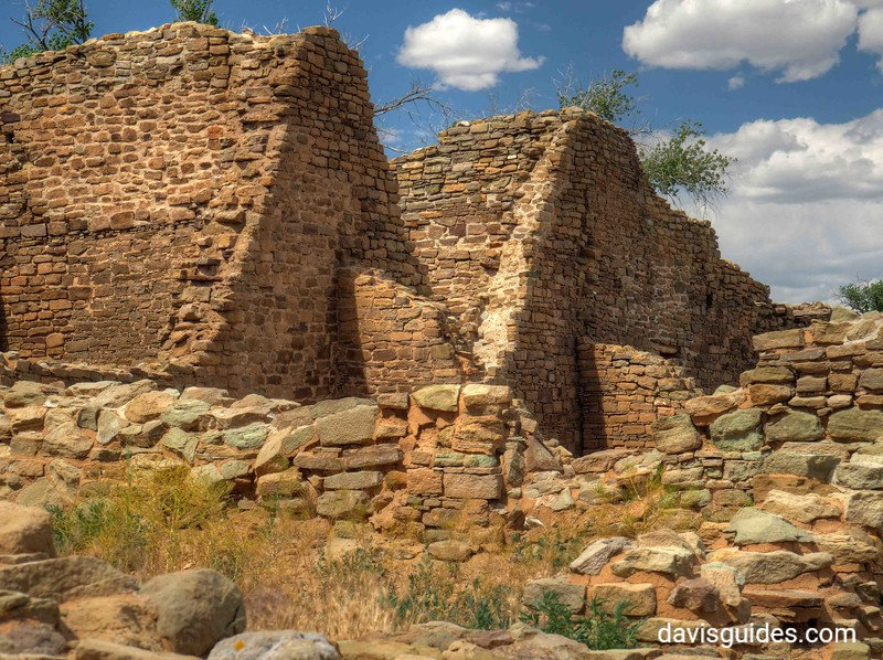 Centuries old structures at Aztec Ruins National Monument in Arizona. This photograph was made near the same location as one taken by NPS photographer George Grant in 1940
