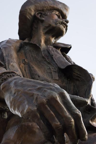 Bronze statue of western frontier man; Heritage Museum, Limon Colorado.
