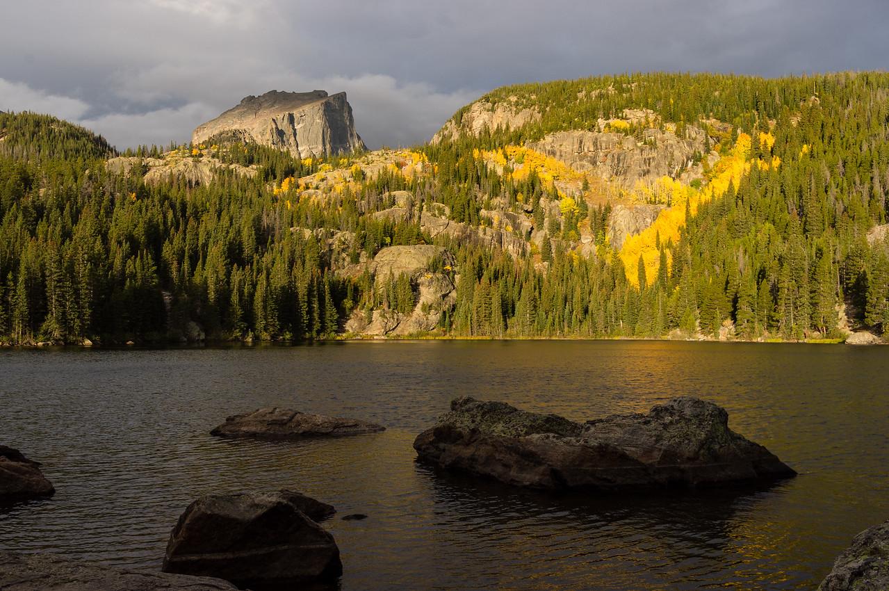 Early sun on Aspens; gray day on Bear Lake, Rocky Mountain National Park, Colorado.