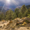 View of peaks under heavy weather from the Moraine Park Campground, Rocky Mountain National Park, Colorado.