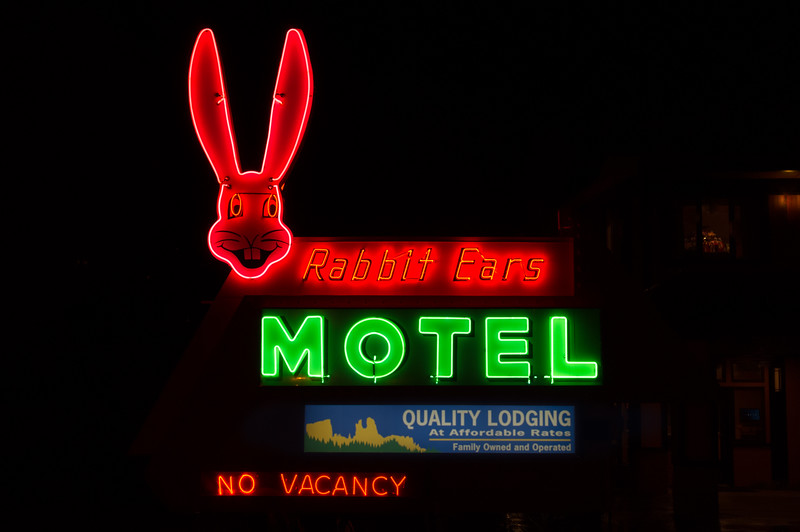 Neon sign for the Rabbit Ears Motel, Steamboat Springs, Colorado.